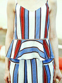 Colorful Stripe Peplum Top - S