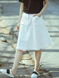 A-Line Denim Midi Skirt - White S