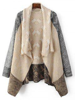 Argyle Shawl Collar Cardigan - Light Apricot S