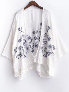 Floral Broderie à Manches 3/4 Glands Spliced ​​Blouse - Blanc S