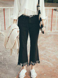 Fringed Ninth Flare Jeans - Black S
