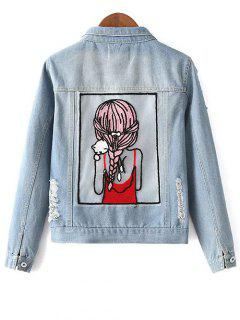 Embellished Shirt Collar Distressed Denim Jacket - Light Blue Xl