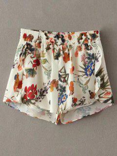 Floral Print Elastic Waist Flouncing Shorts - White S