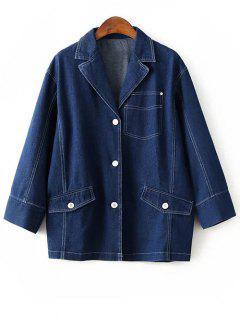 Buttons Lapel Collar Long Sleeve Denim Coat - Deep Blue S