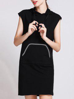 Front Pocket Hoodie Dress - Black S