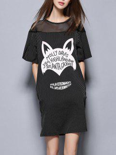 Striped Side Pockets Straight Dress - Black S