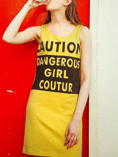 Letter Scoop Neck Yellow Sundress - Yellow S