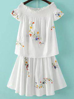 Floral Embroidery T-Shirt And Mini Skirt Twinset - White S