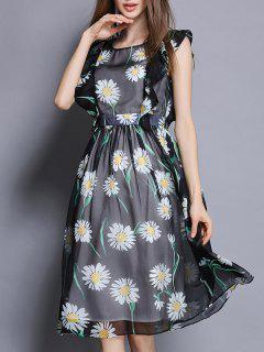 Floral Print Swingy Dress - Black S