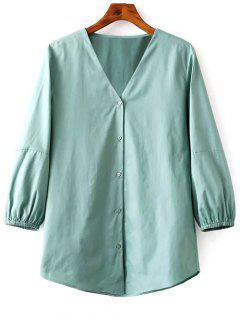 Solid Color V-Neck Balloon Sleeve Blouse - Green S
