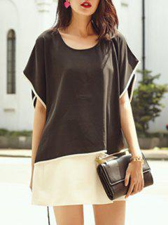 Contrasting Piped Batwing Top - Black