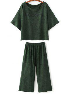 Loose T-Shirt And Wide Leg Pants - Blackish Green