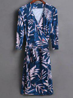 Leaf Print Wrap Dress - Blue S