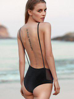 Couleur Unie Backless Bretelles Spaghetti One-Piece Maillots De Bain - Noir S