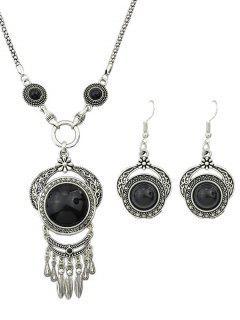 Fake Gem Fringe Necklace And Earrings - Black