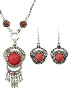 Fake Gem Fringe Necklace And Earrings - Red