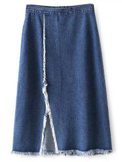 Frayed Front Slit Midi Skirt - Deep Blue S