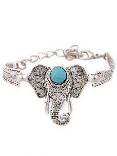 Bracelet à Eléphant Avec Fausse Turquoise  -