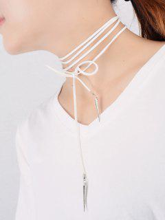 Velvet Cone Rivet Wrap Necklace - White