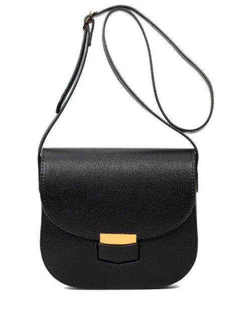 fancy Metal Solid Colour Crossbody Bag - BLACK  Mobile