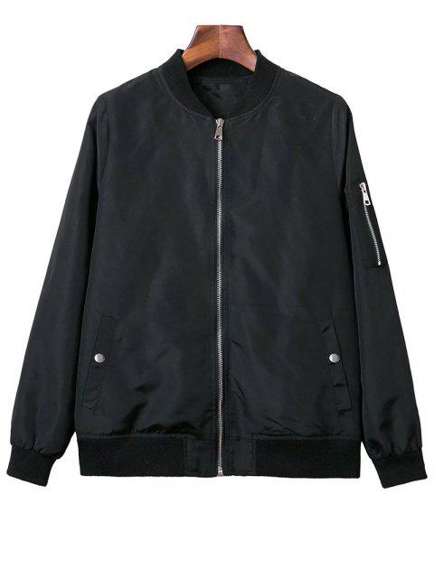 women's Black Stand Neck Long Sleeve Zipper Up Jacket - BLACK S Mobile