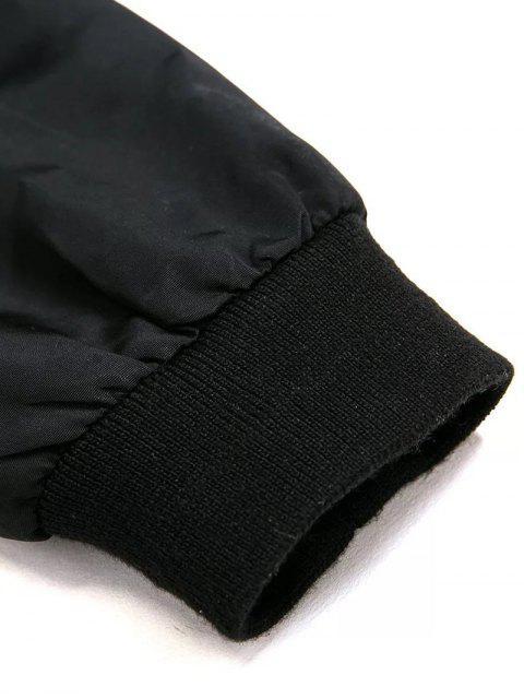women Black Stand Neck Long Sleeve Zipper Up Jacket - BLACK M Mobile
