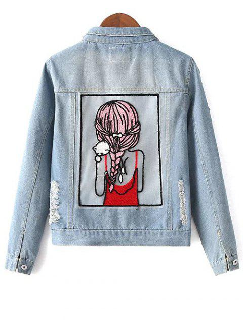 lady Embellished Shirt Collar Distressed Denim Jacket - LIGHT BLUE L Mobile