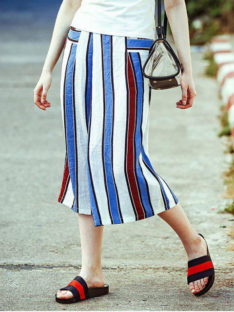 Rayas anchas elásticos de la cintura de los pantalones de la pierna Capri - Raya M Mobile