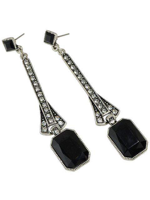 chic Faux Gem Long Drop Earrings -   Mobile