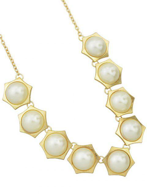 outfits Fake Pearl Geometric Necklace - GOLDEN  Mobile