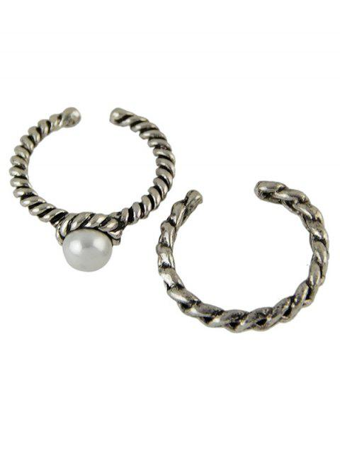 affordable Faux Pearl Opening Rings - SILVER  Mobile