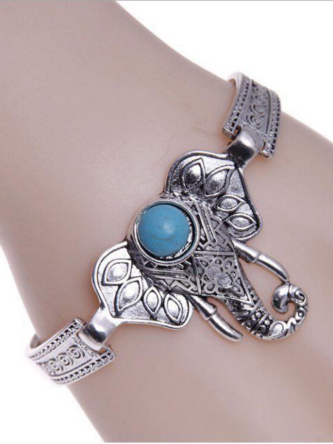 affordable Faux Turquoise Elephant Bracelet - SILVER  Mobile