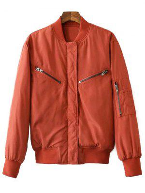 Zipper Embellished Stand Neck Thicken Jacket - Laterite M