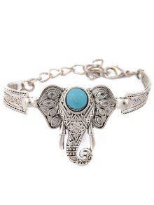 Faux Turquoise Elephant Bracelet - Argent