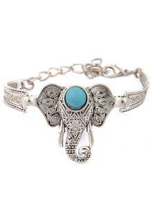 Brazalete Diseño Elefante Turquesa De Imitación  - Plata