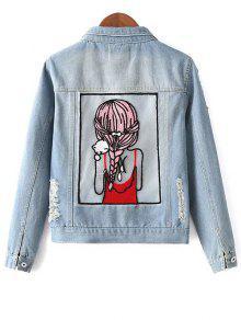 Embellished Shirt Collar Distressed Denim Jacket - Light Blue L