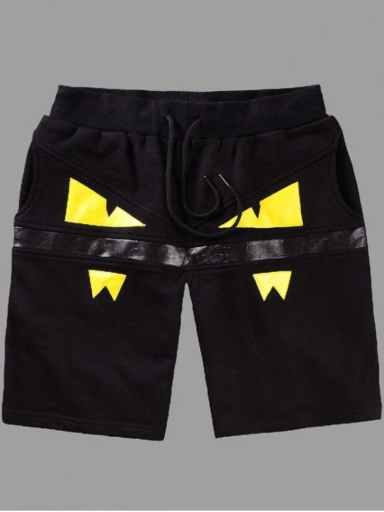 outfit Elastic Straight Leg Eyes Printing Shorts For Men - YELLOW L