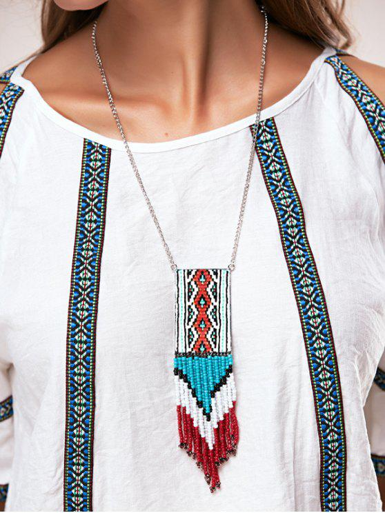 women's Knitted Bead Tassel Necklaces - BLUE