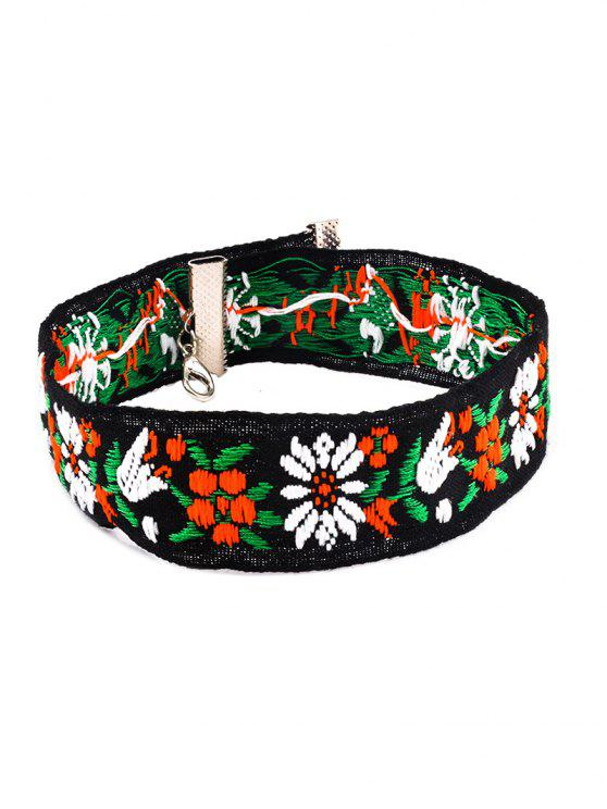 online Flower Embroidery Chokers Necklace - BLACK