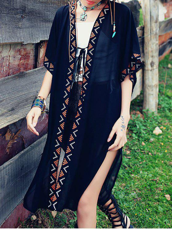online Embroidered Kimono Blouse - BLACK M