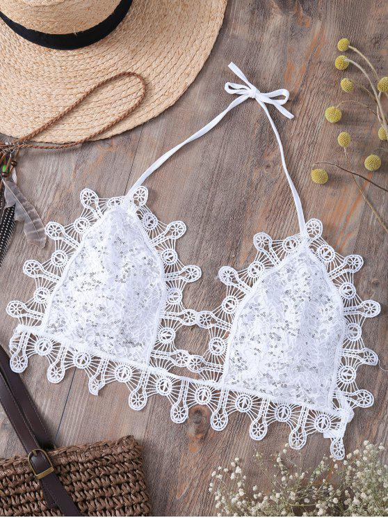 fashion Sequins Embellished Halter Lace Camisole - WHITE L