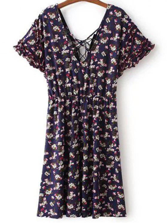 Lace Up col V à manches courtes minuscule imprimé floral Robe - Bleu Violet L