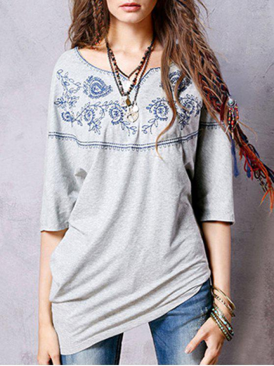 shops Sweetheart Neck 3/4 Sleeve Ethnic Embroidery T-Shirt - SMOKY GRAY ONE SIZE(FIT SIZE XS TO M)