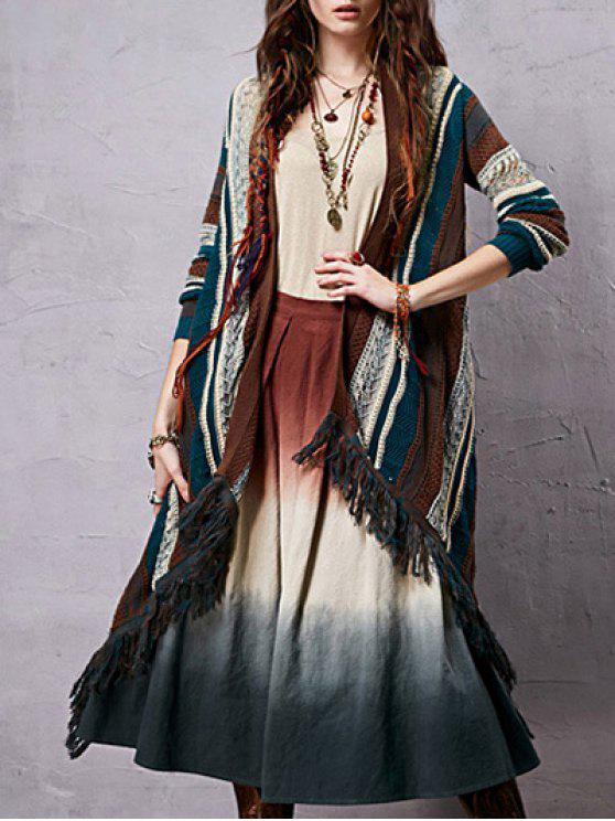 hot Collarless Long Sleeve Striped Ethnic Style Cardigan - COLORMIX ONE SIZE(FIT SIZE XS TO M)