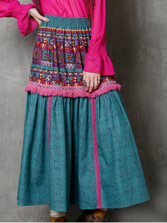 La alta cintura del estilo étnico de la franja de la falda impresa - Turquesa Un tamaño(Montar tam
