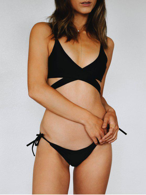 womens Crossover Bikini Set - BLACK M