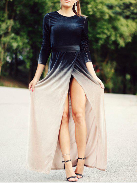 best High Slit Long Sleeves Gradient Color Dress - BLACK XL