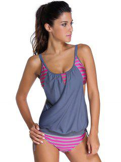 Striped Spaghetti Strap Blouson Tankini Bathing Suits - Gray M