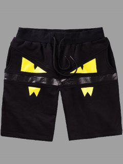 Elastic Straight Leg Eyes Printing Shorts For Men - Yellow L