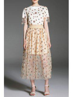 Sequined Star Top And Skirt - Apricot S